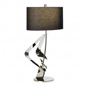 RIBBON/TL Ribbon Single Light Table Lamp in Polished Nickel Finish Complete with Black Cylindrical Shade