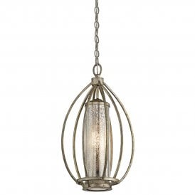 Rosalie Single Light Ceiling Pendant in Sterling Gold Finish with Antique Mercury Glass
