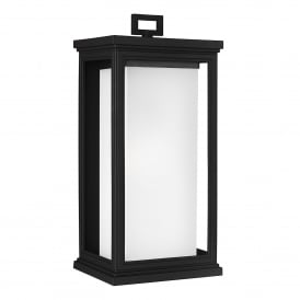 Roscoe Coastal Single Light Large Wall Lantern in Textured Black Finish with White Opal Glass