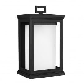 Roscoe Coastal Single Light Medium Wall Lantern in Textured Black Finish with White Opal Glass