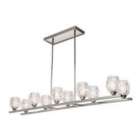 Rubin 10 Light Island Chandelier In Polished Nickel Finish with Glass