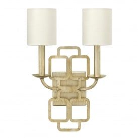 Sabina 2 Light Wall Fitting in Silver Leaf Finish with Distressed Gold Varnish Complete with Silk Shades