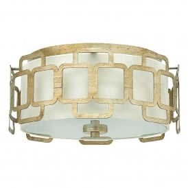 Sabina 3 Light Flush Ceiling Fitting in Silver Leaf Finish and Distressed Gold Varnish