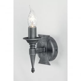 SAX1 BLK/SIL Saxon Single Light Wall Fitting in Black Silver Patina