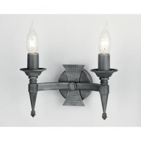 SAX2 BLK/SIL Saxon 2 Light Wall Fitting in Black Silver Patina