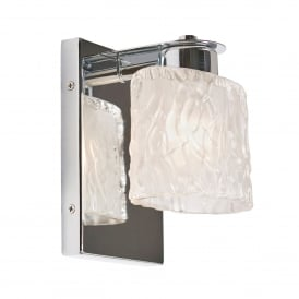 Seaview Single LED Bathroom Wall Light in Polished Chrome Finish Complete with Glass Shade