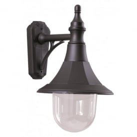 SHANNON DOWN Shannon Single Light Outdoor Coastal Downward Wall Lantern in a Black Finish