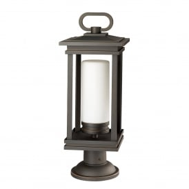 South Hope Single Light Outdoor Pedestal Fitting in Rubbed Bronze Finish with Satin Etched Opal Glass