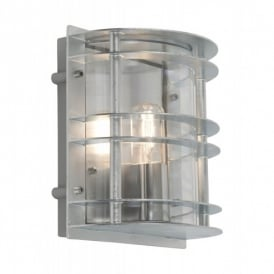 ST/FLU E27 GAL C Stockholm Single Light Outdoor Wall Fitting in Galvanised Finish