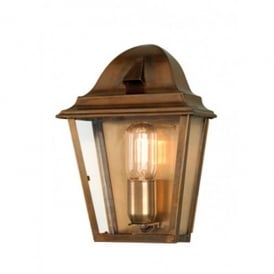 ST JAMES BRASS St James Single Light Solid Brass Outdoor Wall Lantern in Antique Brass