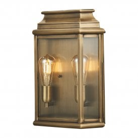 St Martins 2 Light Large Solid Brass Outdoor Wall Lantern in Antique Brass Finish