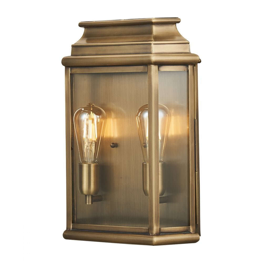 elstead lighting st martins l br st martins 2 light large solid brass outdoor wall lantern in antique brass finish