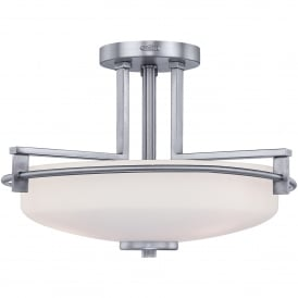 Taylor 3 LED Semi Flush Ceiling Fitting in Polished Chrome Finish with Opal Glass Diffuser