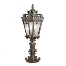 Tournai 3 Light Large Pedestal Made of Die Cast Aluminium in Londonderry Finish (Outdoor)