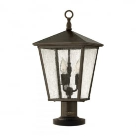 Trellis 3 Light Pedestal Fitting in Regency Bronze Finish and Clear Seedy Panels (Outdoor)