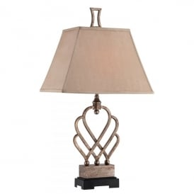 Triheart Single Light Table Lamp in Antique Brass Finish Complete with Tan Linen Shade