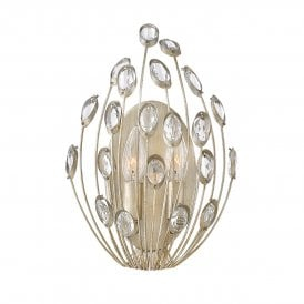 Tulah 2 Light Wall Fitting in Silver Leaf Finish with Faceted Clear Crystals