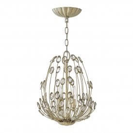 Tulah 3 Light Ceiling Pendant in Silver Leaf Finish with Faceted Clear Crystals