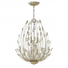Tulah 4 Light Two Tier Ceiling Chandelier in Silver Leaf Finish with Faceted Clear Crystals