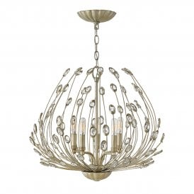 Tulah 5 Light Ceiling Chandelier in Silver Leaf Finish with Faceted Clear Crystals