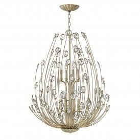 Tulah 8 Light Two Tier Ceiling Chandelier in Silver Leaf Finish with Faceted Clear Crystals
