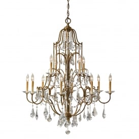 Valentina 12 Light Multi Arm Chandelier in Oxidized Bronze Finish with Clear Crystal Glass