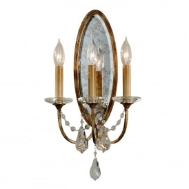Valentina 3 Light Wall Fitting in Oxidized Bronze Finish with Crystal Glass