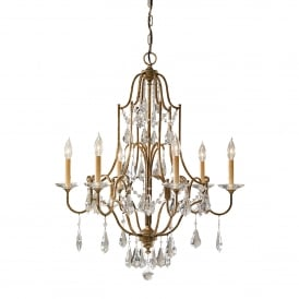 Valentina 6 Light Multi Arm Chandelier in Oxidized Bronze Finish with Clear Crystal Glass
