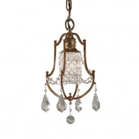 Valentina Single Light Ceiling Pendant in Oxidized Bronze Finish with Clear Crystal Glass