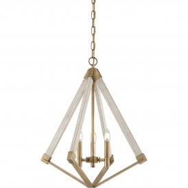 Viewpoint 3 Light Small Metal Ceiling Pendant in Weathered Brass and White Painted Finish