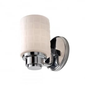 Wadsworth Single Light Above Mirror Halogen Bathroom Fitting in Polished Chrome Finish and Opal Glass Shade
