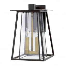 Walker 2 Light Large Outdoor Wall Fitting in Buckeye Bronze Finish with Glass