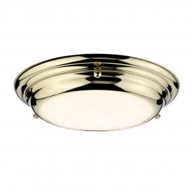 Welland 12w LED Small Flush Ceiling or Wall Fitting in Polished Brass Finish