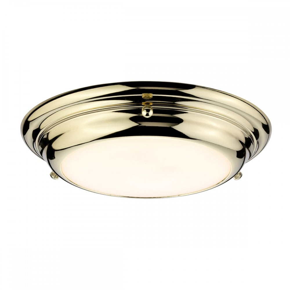 Welland F S Pb Welland 12w Led Small Flush Ceiling Or Wall Fitting In Polished Brass Finish