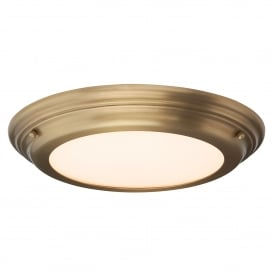 Welland Single LED Flush Ceiling Fitting in Aged Brass Finish