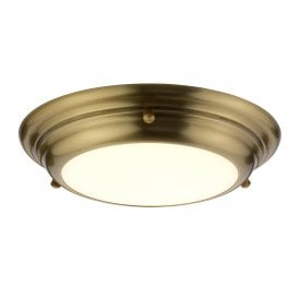 Welland Small 12w LED Flush Ceiling Fitting in Aged Brass Finish