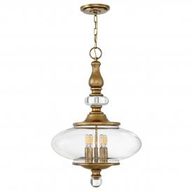 Wexley 5 Light Ceiling Pendant in Heritage Brass Finish with Clear Glass and Crystal Accents