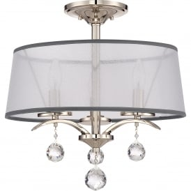 Whitney 3 Light Semi Flush Duo Mount Ceiling Fitting in Imperial Silver Finish with White Organza Shade