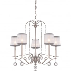 Whitney 5 Light Multi Arm Ceiling Chandelier in Imperial Silver Finish with White Organza Shades