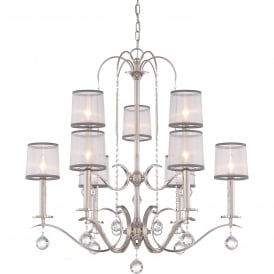 Whitney 9 Light Multi-Arm Ceiling Chandelier in Imperial Silver Finish with White Organza Shades