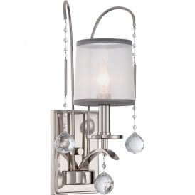 Whitney Single Light Wall Fitting in Imperial Silver Finish with Sheer White Organza Shade