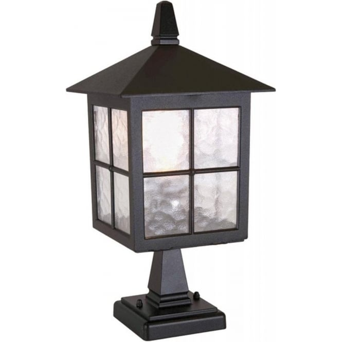 Warwick Pedestal Lantern Light Black: Elstead Lighting Winchester Single Light Outdoor Pedestal