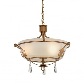 Windsor 3 Light Duo Mount Ceiling Fitting in Rich Gold Patina Finish with Cut Glass Crystal Decorations