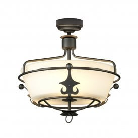 Windsor 3 Light Semi Flush or Ceiling Pendant in Graphite Finish with Glass Diffuser
