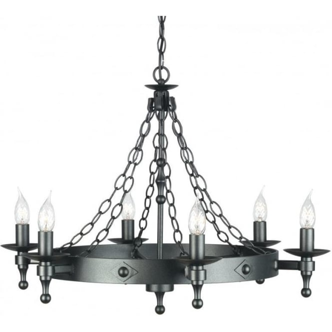 WR6 GR Warwick 6 Light Cartwheel Ceiling Fitting In Graphite Black Finish