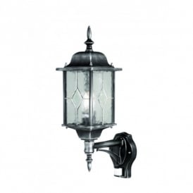 WX1 PIR Wexford Wall Light with PIR in a Black Silver Finish
