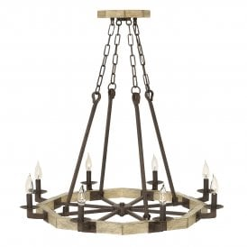 Wyatt 8 Light Chandelier in Wood and Iron Rust Finish