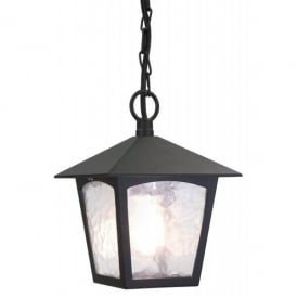 York Single Light Outdoor Ceiling Pendant Lantern in a Black Finish