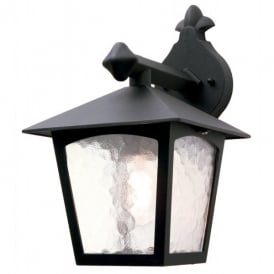 York Single Light Outdoor Hanging Wall Lantern in a Black Finish