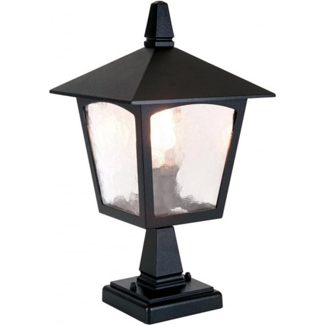 Cheltenham Cast Pedestal Lantern Light Black: Elstead Lighting York Single Light Outdoor Pedestal